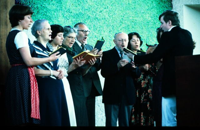 That's Frau Wieser, second from the left.  Notice that she's the only one NOT using a hymnal.  She knew the words by heart.  (Photo taken in 1978)