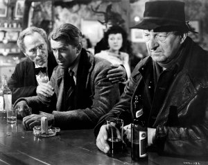 "George Bailey (played by James Steward, center) in Martini's Bar, from Frank Capra's classic, ""It's A Wonderful Life."""
