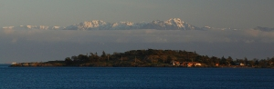 The Olympic Range as seen from Victoria Island, British Columbia