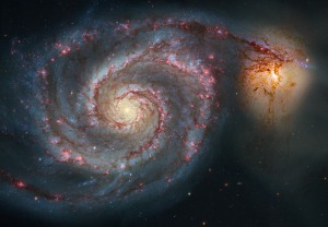 "Hubble's view of a spiral galaxy called rather unpoetically, ""M51."""