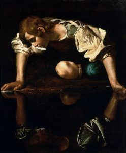 Caravaggio's depiction of Narcissus.  He doesn't look all that Greek to me, but it's still a nice rendering, I think.