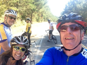 My great group of new buddies in Birmingham who are as nutty about cycling as I am.  That's me up close, with Linda in the lower left and behind us from left to right, Dan, Jeff, and Bill.  A healing community!